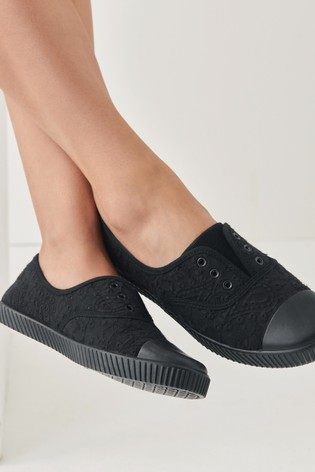Black Slip On Canvas Shoes