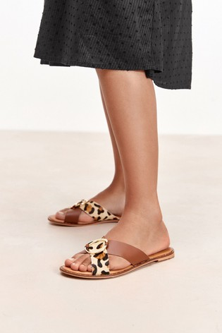 Animal/Tan Regular/Wide Fit Forever Comfort® Cross Over Mule Sandals