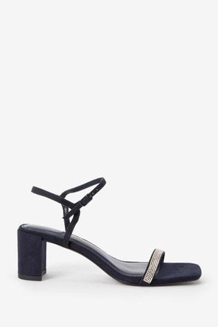 Navy Diamanté Block Heel Sandals