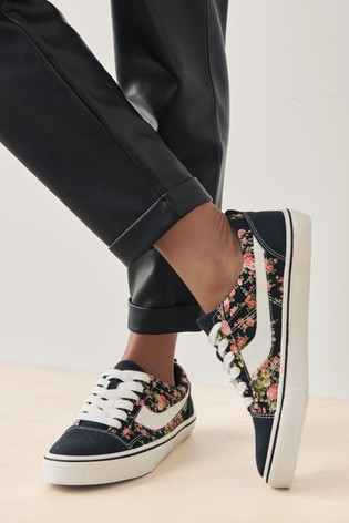 Floral Lace Up Suede Side Detail Trainers