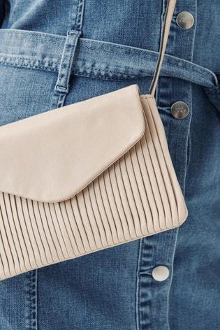 Bone Leather Pleated Flap Across Body Bag