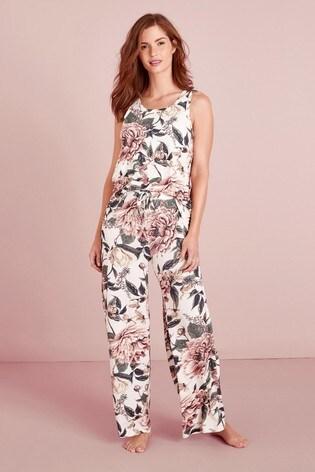 Cream Floral Jersey Cami Pyjamas