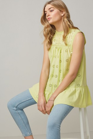Lime Broderie Sleeveless Tunic