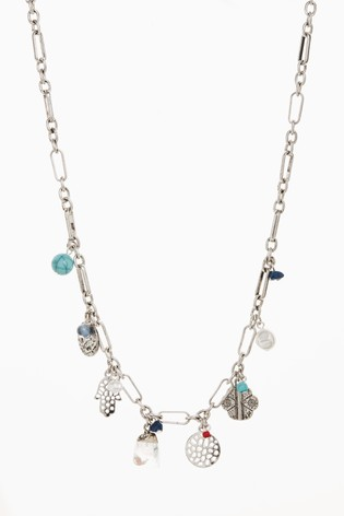 Silver Tone Charm Short Necklace