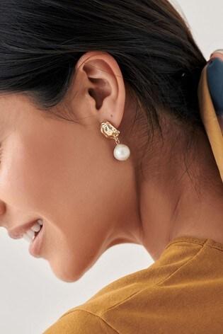 Aela Gold Look Textured Pearl Earrings