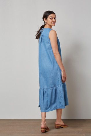 Blue Tiered Midi Dress