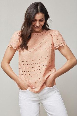 Peach Broderie T-Shirt
