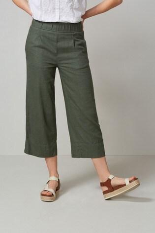Khaki Linen Blend Slouch Culottes
