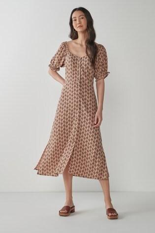 Peach Print Button Front Midi Dress