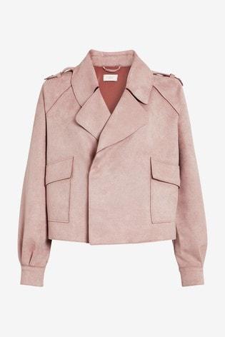 Pink Faux Suede Biker Jacket