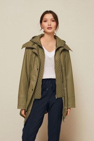 Khaki Rubber Rain Jacket