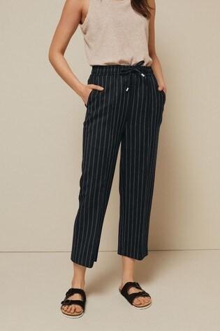 Black Stripe Tie Waist Culottes