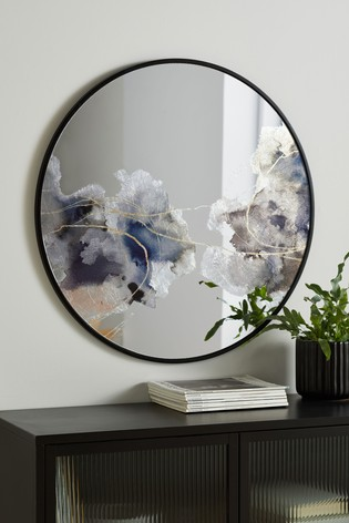 Abstract Watercolour Round Mirror