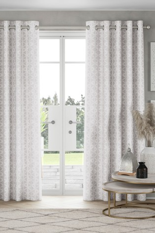 Raw Beauty Geo Print Eyelet Curtains