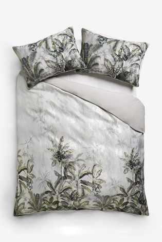 Tropical Jacquard Metallic Duvet Cover and Pillowcase Set
