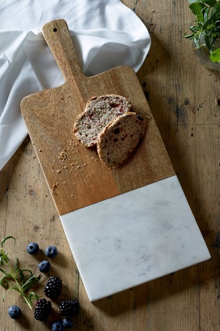 Marble And Wood Serve Board