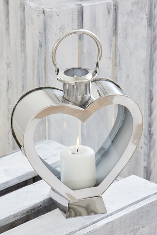 Heart Shaped Chrome Lantern