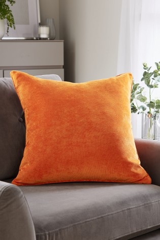 Orange Soft Velour Large Square Cushion