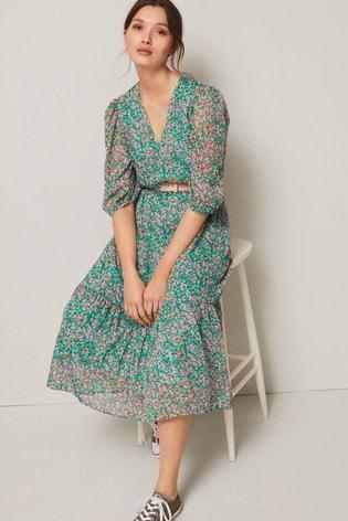 Green V-Neck Belted Dress