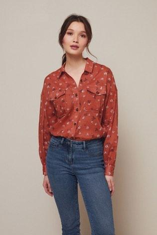 Rust Ditsy Cotton Utility Shirt
