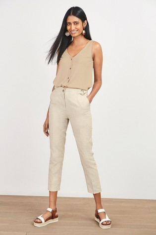 Stone Cotton/Linen Mix Peg Trousers