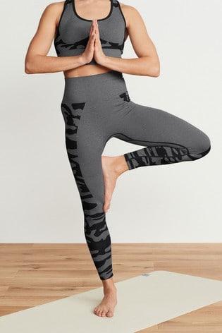 Charcoal Camo Print Seamless Contour Leggings