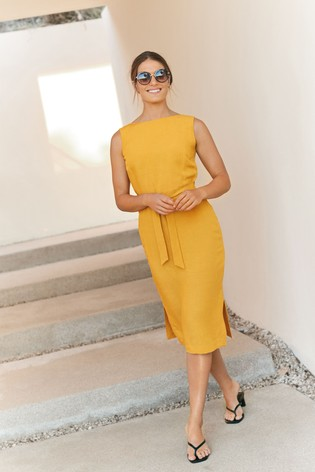 Yellow Soft Belted Dress