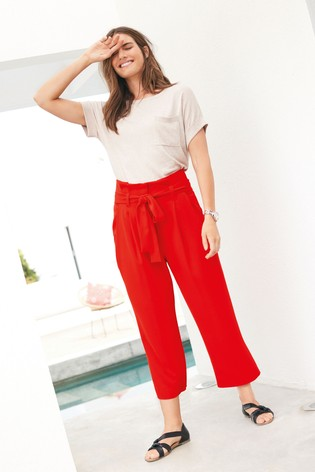 Red Twill Belted Culottes