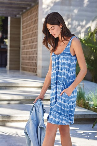 Tie Dye Print Sleeveless Pocket Dress