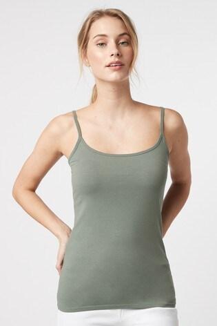 Khaki Green Thin Strap Vest