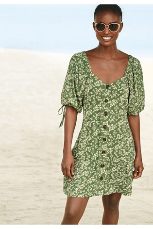 Green Floral Tie Sleeve Button Front Dress