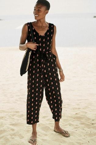 Black Print Linen Blend Jumpsuit