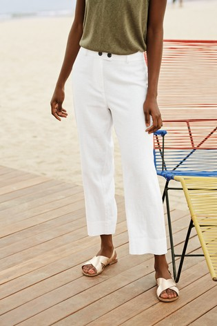 White Linen Blend Crop Trousers