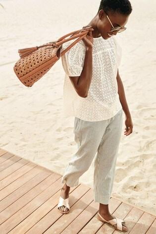 Ecru Stripe Linen Blend Crop Trousers