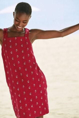 Red Print Linen Blend Square Neck Dress