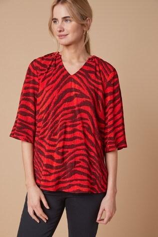 Red Zebra Textured Top