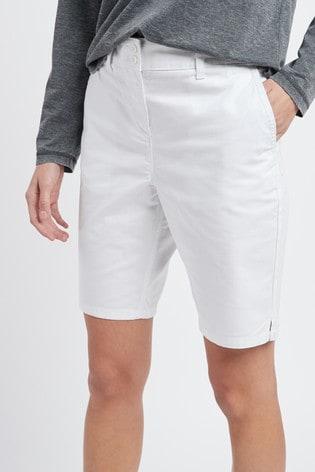 White Chino Knee Shorts