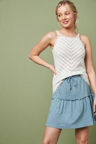 Blue Ruffle Flippy Skirt