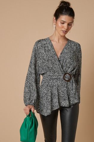 Black/White Printed Wrap Top With Buckle