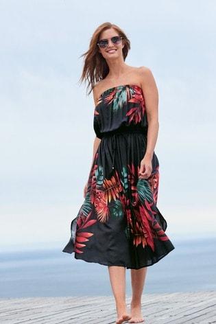 Black Floral Pull-On Bandeau Midi Dress