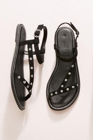 Black Forever Comfort® Jewelled Asymmetric Sandals