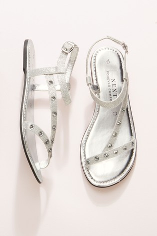 Silver Forever Comfort® Jewelled Asymmetric Sandals