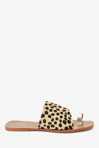 Animal/Gold Regular/Wide Fit Toe Loop Mules