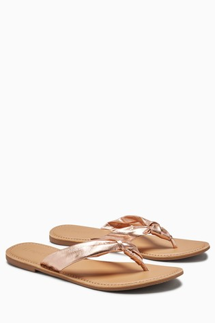 Rose Gold Regular/Wide Fit Knot Toe Post Sandals