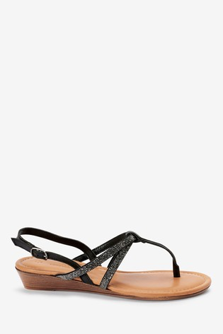 Black Forever Comfort® Mini Wedge Toe Post Sandals