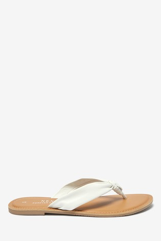 White Regular/Wide Fit Knot Toe Post Sandals