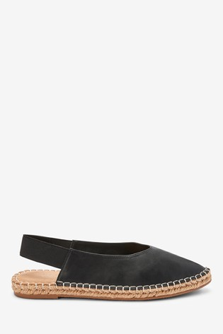 Black Espadrille Slingback Shoes