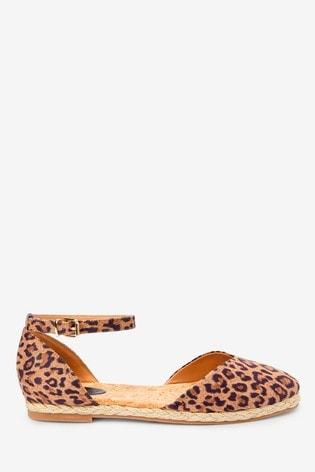 Leopard Espadrille Two Part Shoes