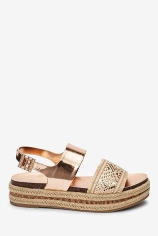 Buy Rose Gold Weave Flatform Sandals