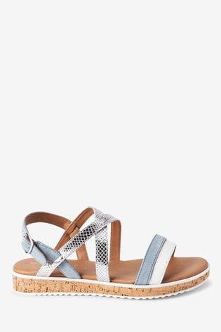 Blue/Silver Regular/Wide Fit Forever Comfort® Cork Flatform Sandals